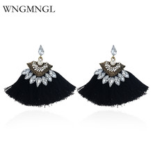 WNGMNGL New 2018 Women Tassel Earrings Bohemia Charm Crystal Black Red Pink Color Drop Earrings for Women Fashion Jewelry Gift 2018 summer new india golden jhumki earrings bohemia blue tassel earrings hippy charm fake beach travel jewelry