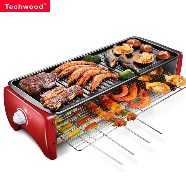 Korean Style Non-stick Grill Home Smokeless Multifunction Indoor Electric Baking Tray Iron Plate Barbecue Meat Machine Barbecue