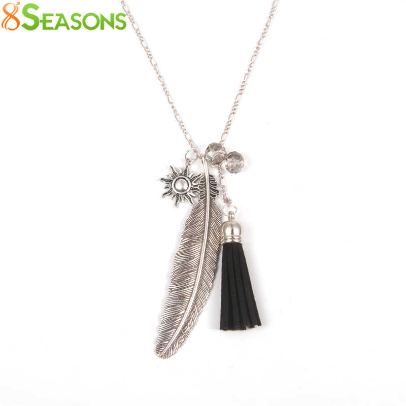 "8SEASONS ""Freedom"" Fashion Tassel Pendant Necklace Feather Necklace Link Chain Dull Silver Color 73cm(28 6/8"")long Black 1 Piece"