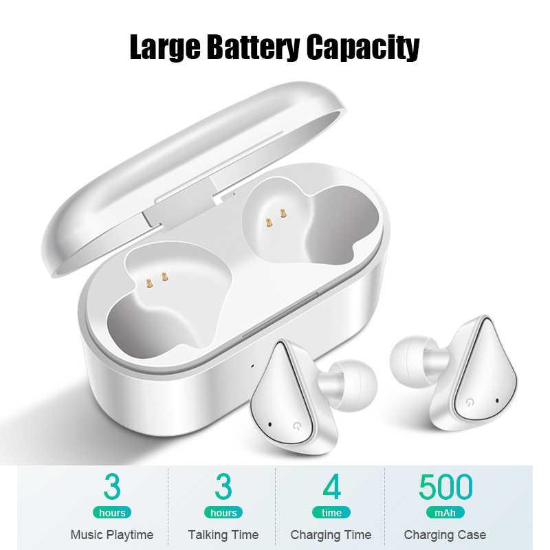 Bluetooth słuchawki 5.0 Mini TWS sterowanie dotykowe bezprzewodowy zestaw słuchawkowy sportowe Stereo bezprzewodowe słuchawki douszne z okno ładowania