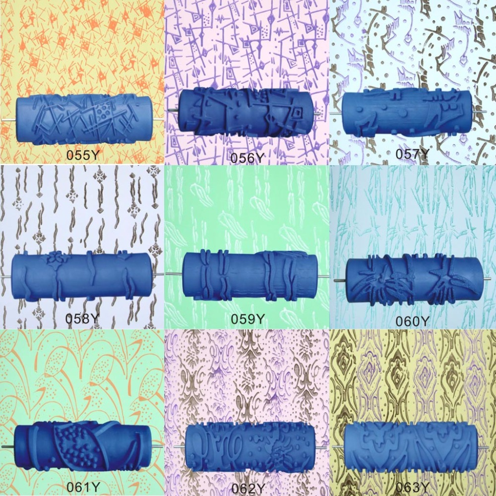"""5"""" Embossed Paint Roller Sleeve Wall Texture Stencil Brush Pattern Decor 055Y -081Y"""