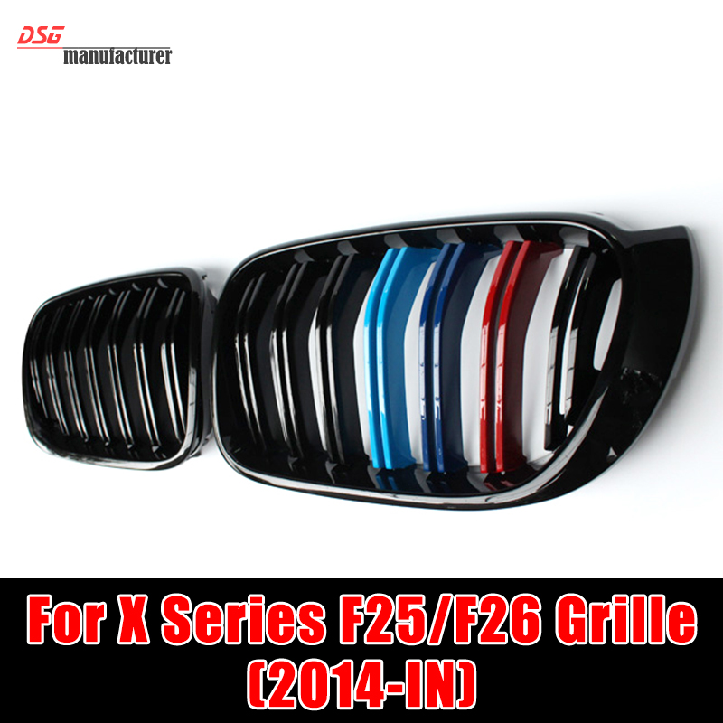 X3M X4M Style Durable ABS Front Hood Grill For 2014 2015 2016 BMW X4 F26 & X3 F25 LCI in M Color Great Fitment Bumper Grille x3m x4m style durable abs front hood grill for 2014 2015 2016 bmw x4 f26