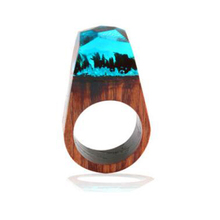 Pointed wood ring / ethnic style resin explosion fashion