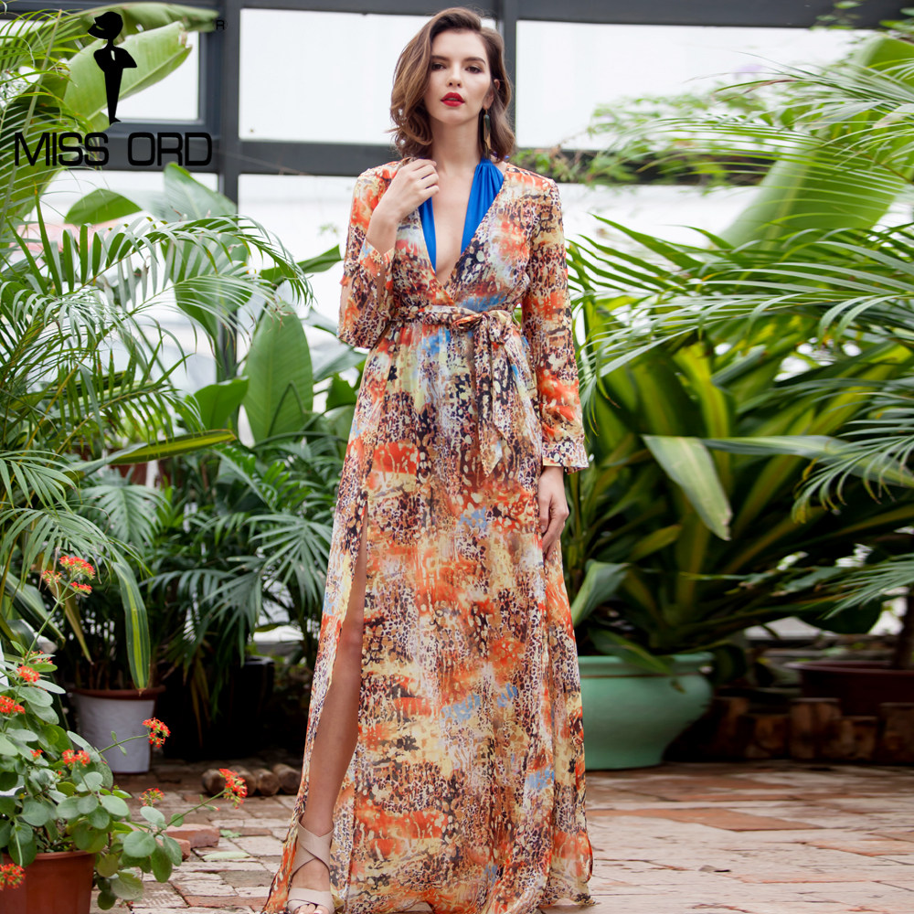 Missord 2018 Sexy Deep-V Long Sleeve two split belt mutli color dress maxi  beach 61e394a60715