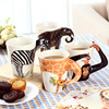 2016 Hot Sale 3Dcreative Fashion Cartoon Childrend Love Pure Hand Painted Solid Ceramic Mug Cartoon Animal