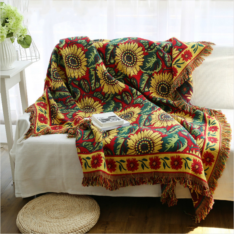 European kinited double sided sunflower throw jacquard for Decorative bed throws