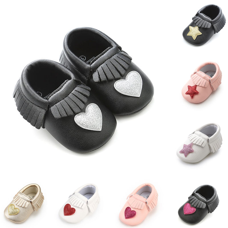 ... 2018-Hot-Sale-Fringe-Baby-Moccasins-Soft-Infants- Fashion-Bling-Heart- star-style-PU-leather-Newborn- ... 612ee9ef8515
