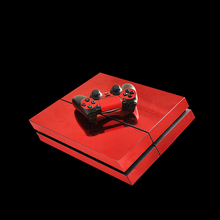 Red New PVC Specular Anodized Skin Sticker for Sony PS4 Console and 2 Controllers Skin Decal