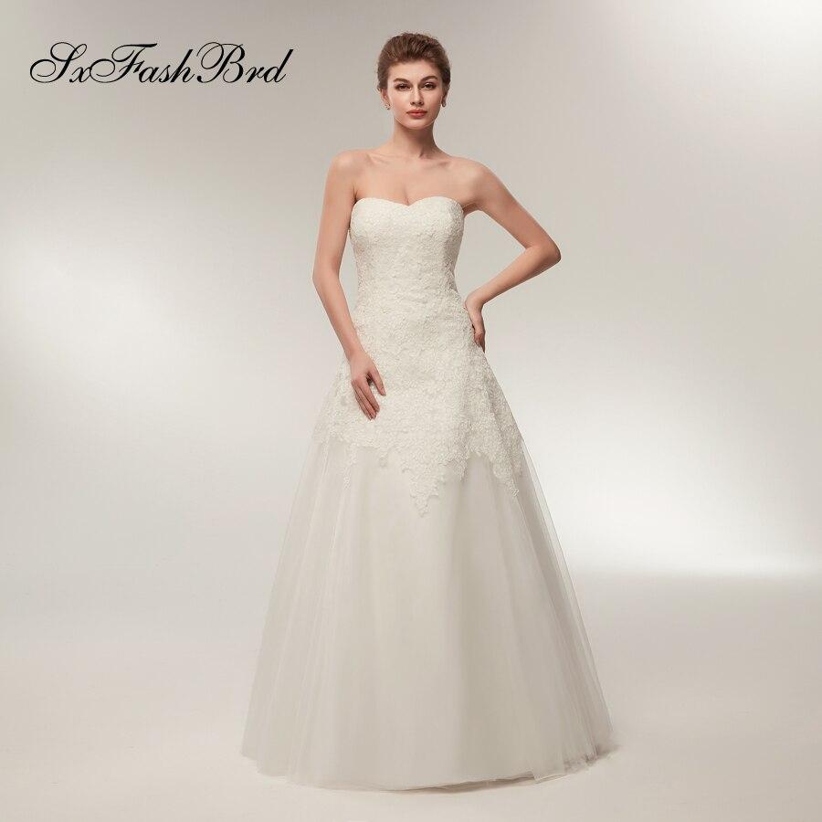 Robe De Mariage Кружевной Топ Милая линии Тюль Длинные элегантные Винтаж невесты Свадебные платья для Для женщин Vestido De Novia