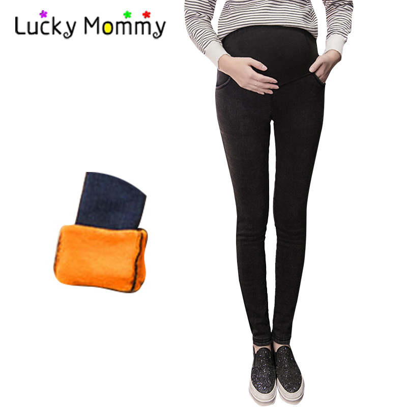 2017 Autumn Winter Warm Maternity Jeans Denim Pants Elasticity Trousers Plus Velvet Maternity Clothes for Pregnant Women