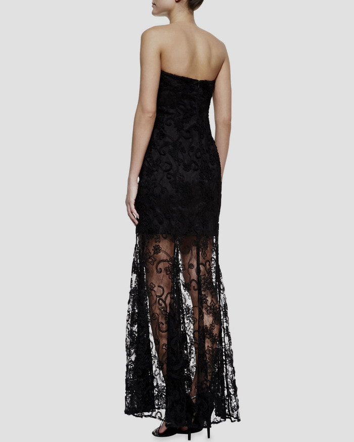 vestido de festa longo free shipping robe de soiree 2016 new fashion sexy sweetheart black long Formal party lace evening dress in Evening Dresses from Weddings Events