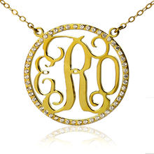 Personalized Name Circle Necklaces Gold Color Monogram Initails Necklace with Zircons Fashion Jewelry To US 2 weeks