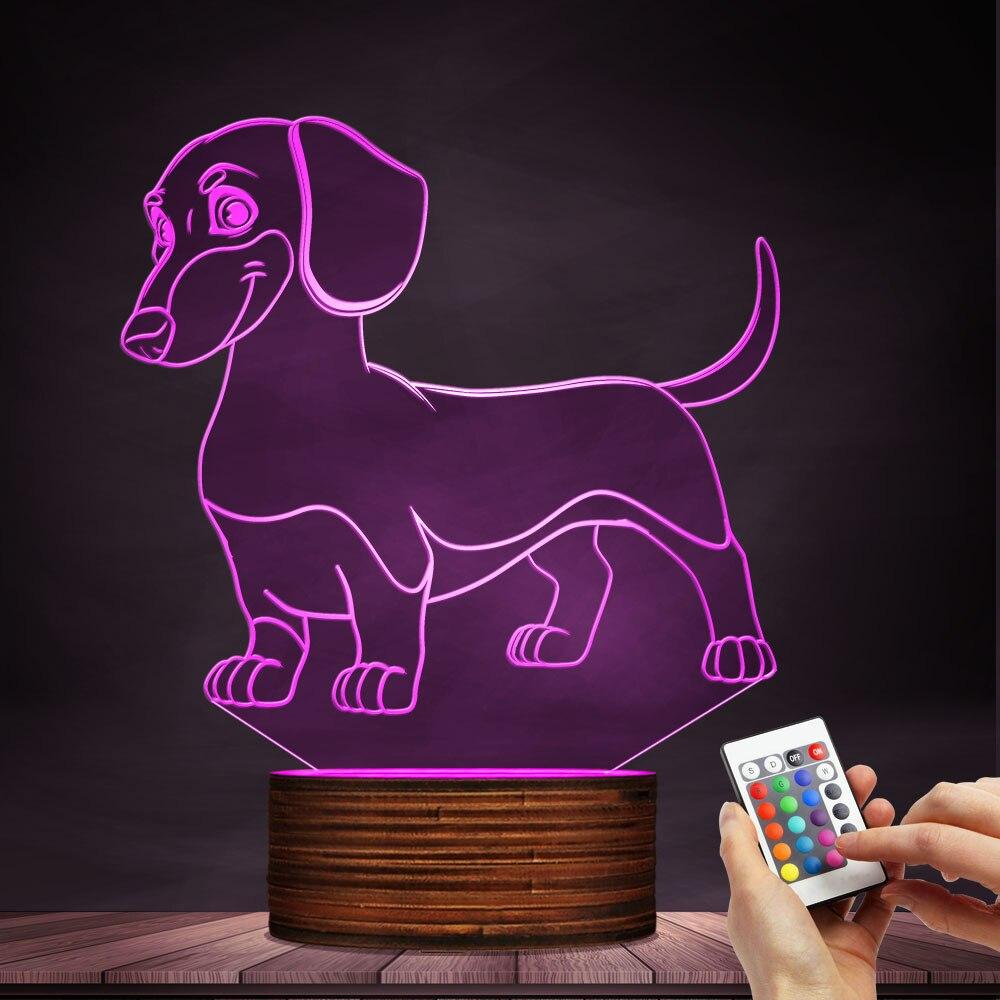 1 pièce Saucisse Chien Teckel Kid Chambre Night Light Lampe de Table Saucisse-Chien Pet Chiot Glowing LED Lampe Décorative éclairage