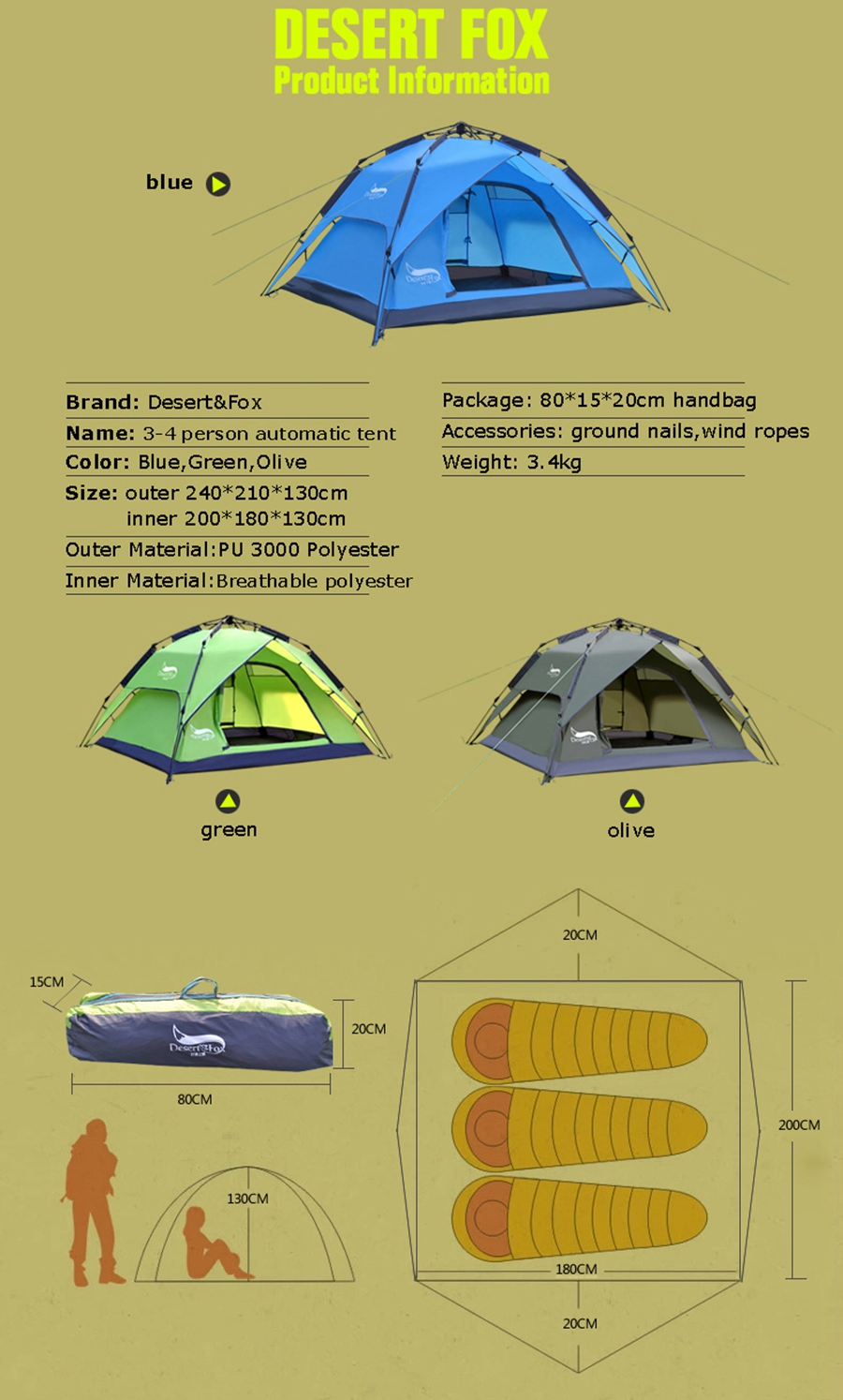Desert&Fox Automatic Camping Tent, 3-4 Person Family Tent Double Layer Instant Setup Protable Backpacking Tent for Hiking Travel 6
