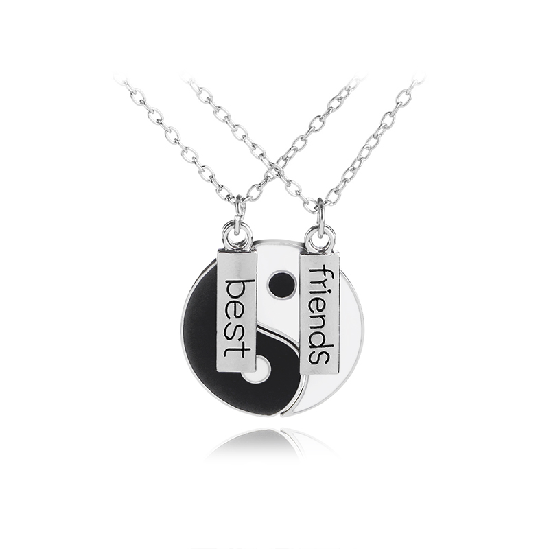 2 PCS Best Friends Necklace Jewelry Yin Yang Tai Chi Pendant Couples Paired BFF Necklaces Pendants Gift