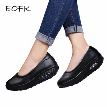 EOFK Women Leather Flat Platform Shoes Woman Swing Shoes Women's Loafers Slip On Shallow Ladies Casual Flats mocasines mujer