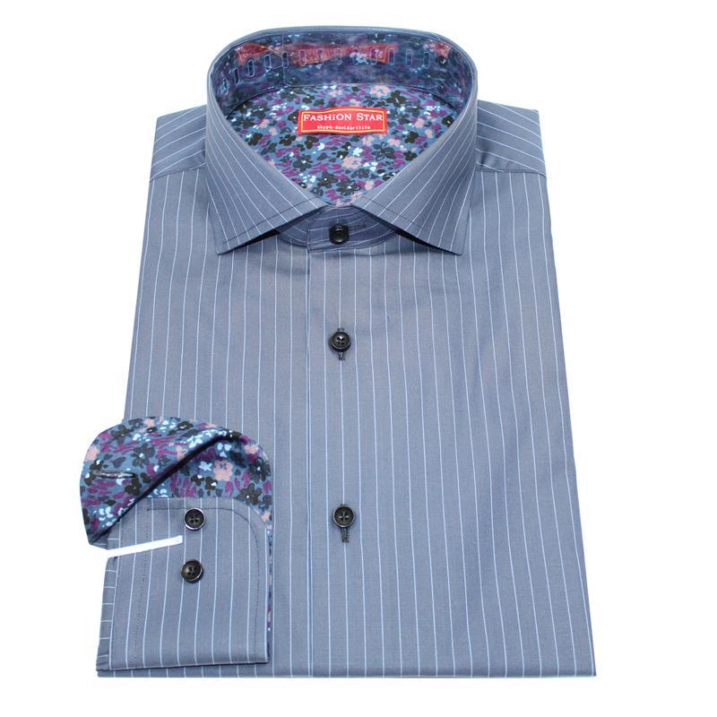 268f543dd0 2019 Camisa Masculina Men's Long Sleeve Purple White Striped Dress ...
