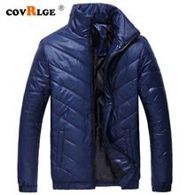 CovrlgeBrand Men Parka Cotton Padded Winter Jacket Coat mens warm jacket Solid color Stand Collar Zipper Thick Coat Men MWM073 цена