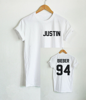 2017 Justin Bieber T Shirt Women Band Tshirt Rock Hip Hop Short Sleeve Name And Age
