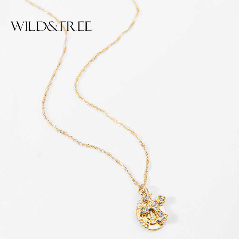 Wild&Free Virgin Mary Cross Pendant Necklace for Women Girls Gold Color Colar Chain Choker Necklaces Ladies Jewelry