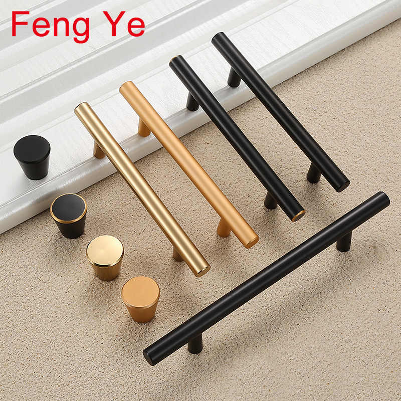 Feng Ye Modern Handles Furniture Cabinet Drawer Wardrobe Knobs Kitchen Door Cupboard dresser Gold And Black Lengthening Type