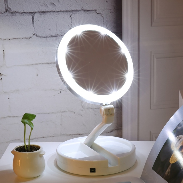 Led makeup mirror double sided rotation folding usb lighted vanity led makeup mirror double sided rotation folding usb lighted vanity mirror portable tabletop lamp aloadofball Images