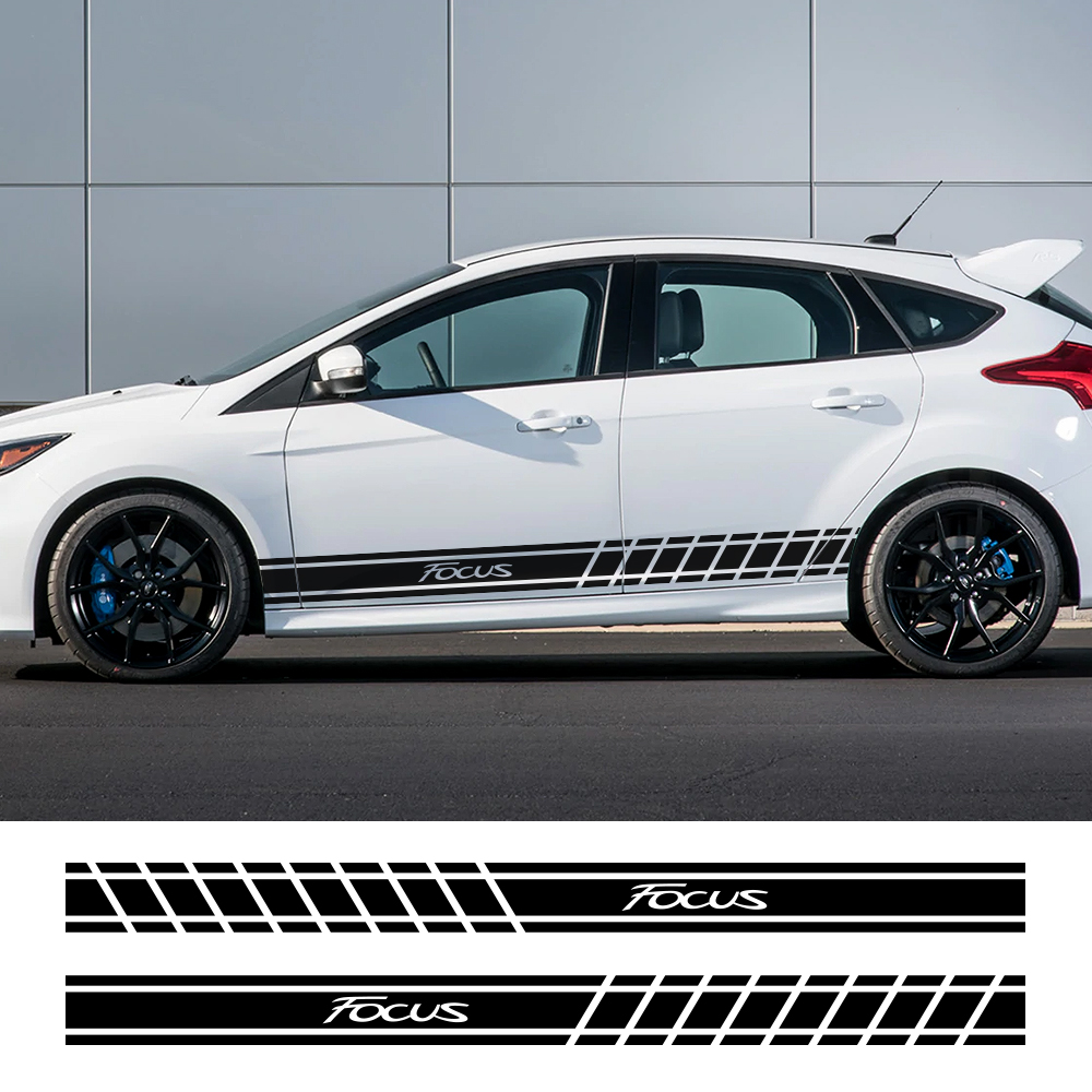 2PCS Sport Car Door Side Skirt Stickers For Ford Focus 2 3 1 MK2 MK3 MK1 Vinyl Stripe Captivating Auto Decor Decals Accessories
