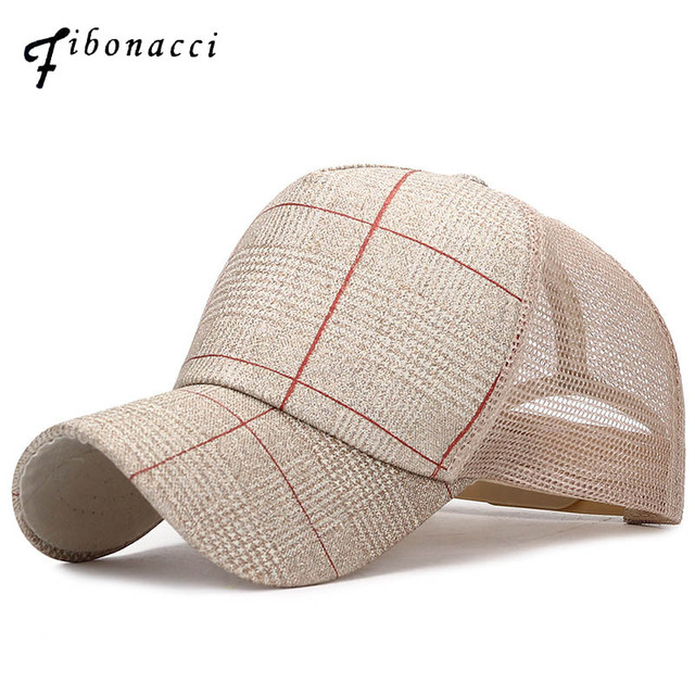 bb774c46334 Fibonacci Summer Mesh Plaid Baseball Cap Snapback Hats for Men Women Gorras  Outdoor Fashion Trucker Sunscreen Caps