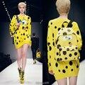 Long Sweater Women 2016 Fall Winter Runway Brand Fashion Novelty Cartoon Character Yellow Polka Dot Knitted Woolen Pullover 1158