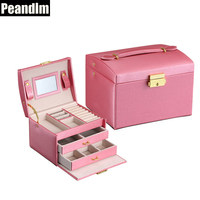 PEANDIM Women Leather Jewelry Box Rings Earrings Makeup Holder Travel Toiletry Storage Container 3 Layers Casket