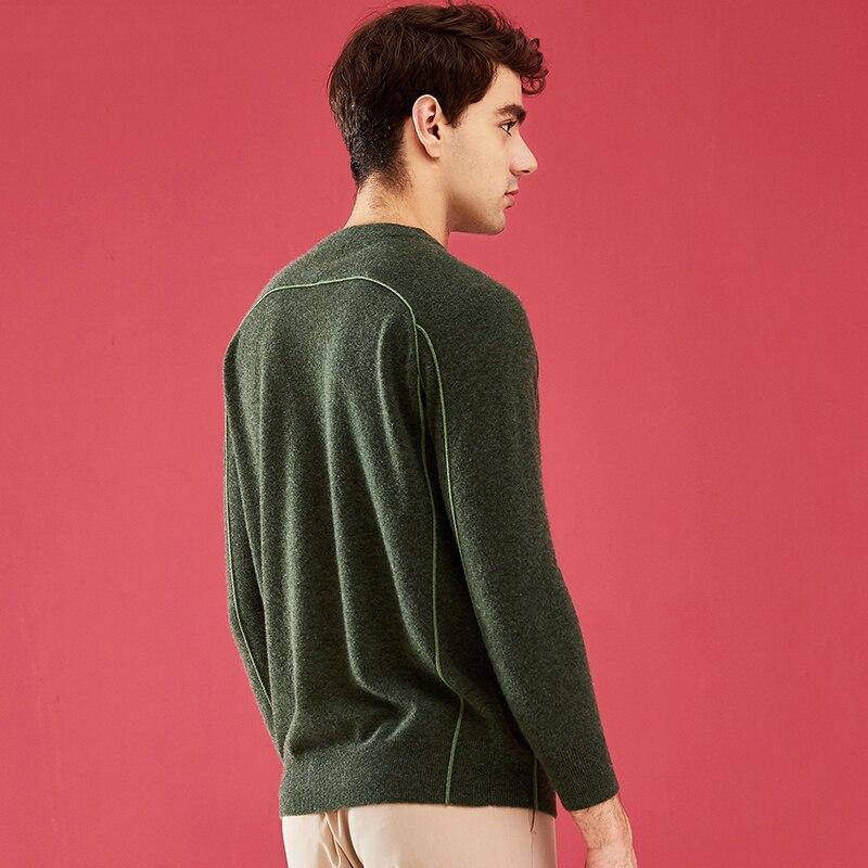 Мужской Рождественский красный кашемировый свитер с круглым вырезом ZHILI - 4
