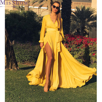 2019 Solid Color Yellow Red Long Dress Sexy V Neck Long Sleeve Women Casual Maxi Dresses Summer Split Beach Party Dress Vestidos