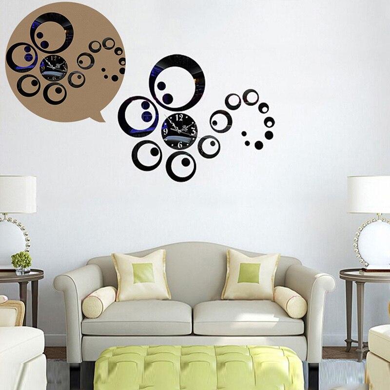 Лидер продаж модных кругах 3D современные зеркала настенные часы Часы Стикеры Наклейка Главная DIY Декор Новое поступление 5076