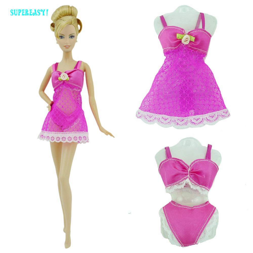 Free Shipping Colourful Sexy Pajamas Lingerie Nightwear Lace Night Dress + Bra + Underwear Clothes For Barbie Doll Skirt Clothes