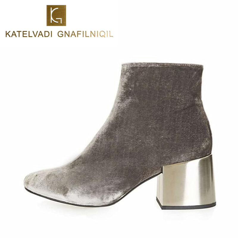 Brand Designers Velvet Ankle Boots Gray Round toe Thick Heel Women Boots High Heels Shoes Woman Winter Boots With Fur K-055 shiningthrough 2018 round toe cow leather solid nude women ankle boots thick heel brand women shoes causal motorcycles boots