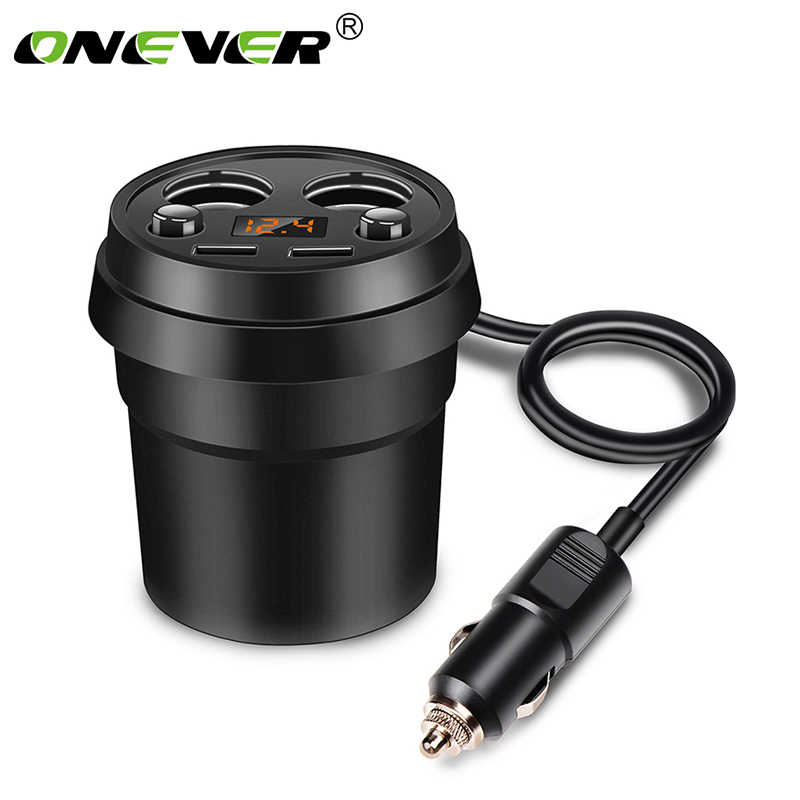 Onever Cup Car Charger Cigrarette Lighter Splitter Power Adapter Socket Dual USB 3.1A Fast Charing for Smartphone GPS DVR Iphone