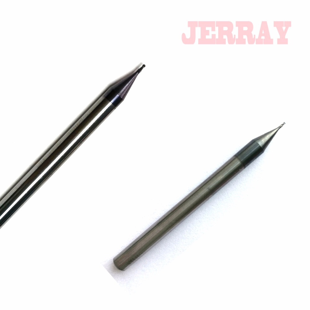 1pc 0.2mm 0.3mm 0.4mm-0.9mm 2 flutes HRC55 Micro Grain Tungsten Carbide Flat and ball nose End Mill CNC Milling Router Bits