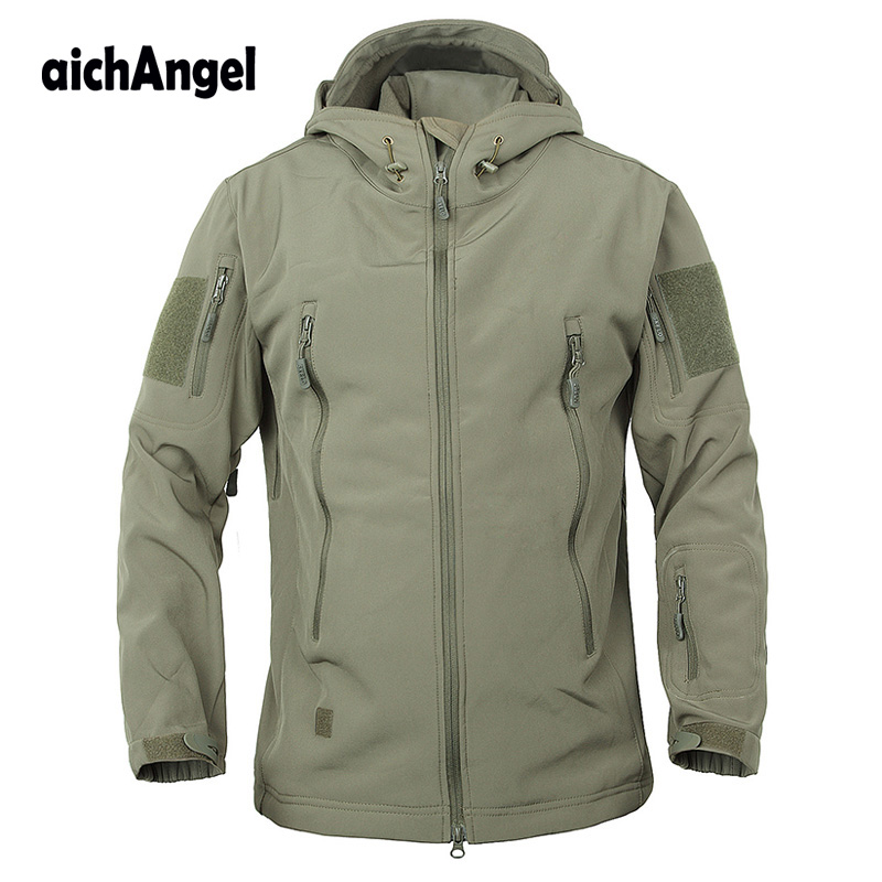 Army Camouflage Coat Military Tactical Jacket Men Soft Shell Waterproof Windproof Jacket Winter Hooded Coat