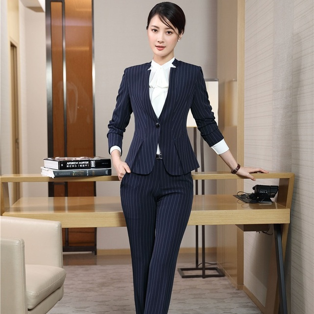 Elegant Navy Blue Striped Blazers With Jackets And Pants Fall Winter  Professional Business Women Pants Suits Blazer Sets 3cc0831e33