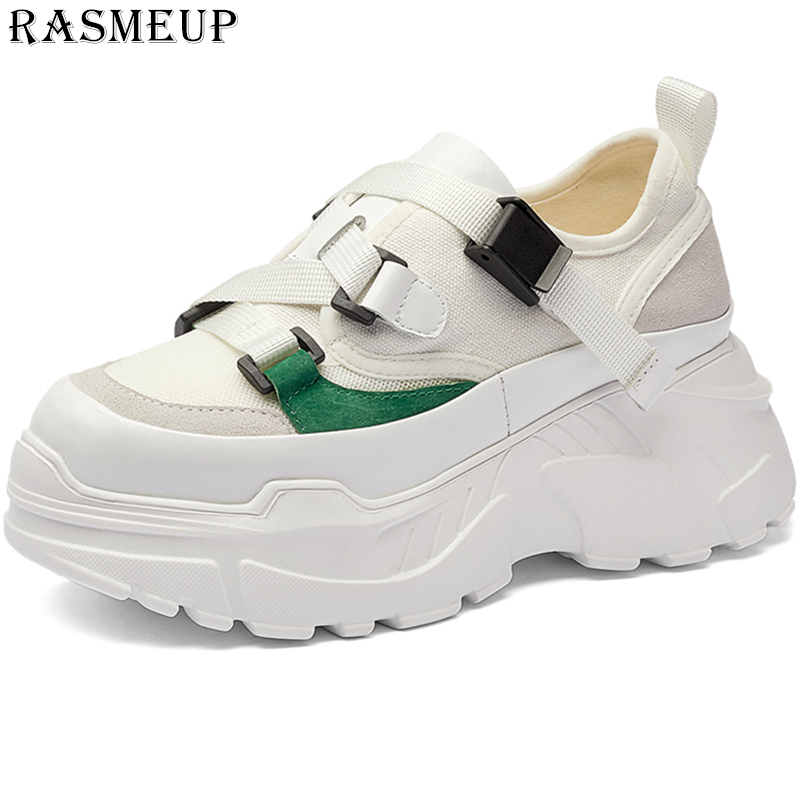 RASMEUP Genuine Leather Canvas Women Chunky Dad Sneakers 2019 Fashion Summer High Platform Women s Shoes