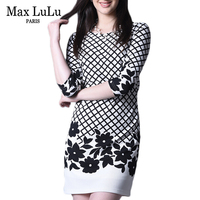 Max LuLu Autumn New Arrival 2017 Casual Fashion O neck Slim Fit Women's Office Dress Print Plaid Christmas Dress Women Plus Size