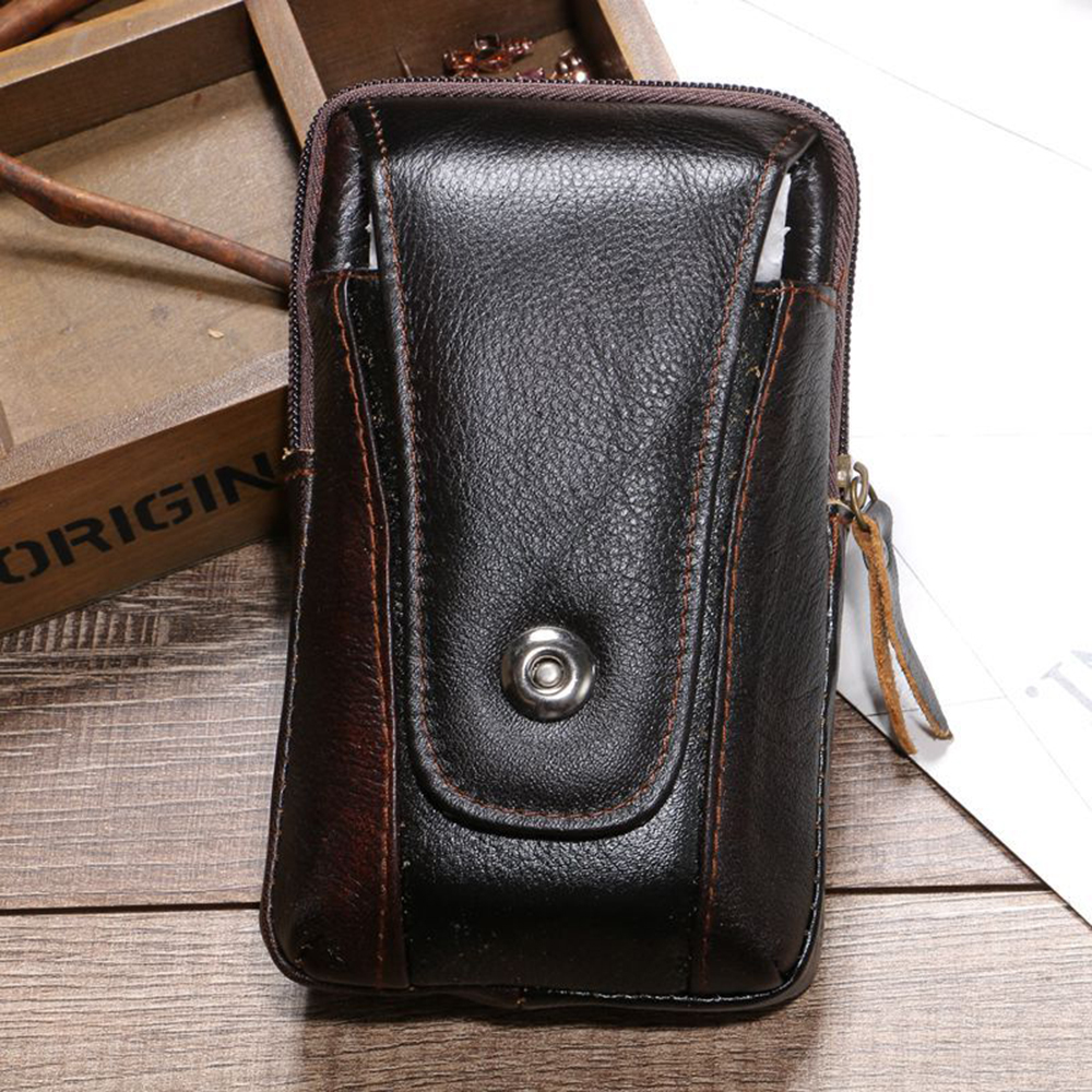 Men Genuine Cow Leather Vintage Bum Fanny Pack Waist Packs Coin Credit Card Belt Wear Bag Multi function Business in Waist Packs from Luggage Bags