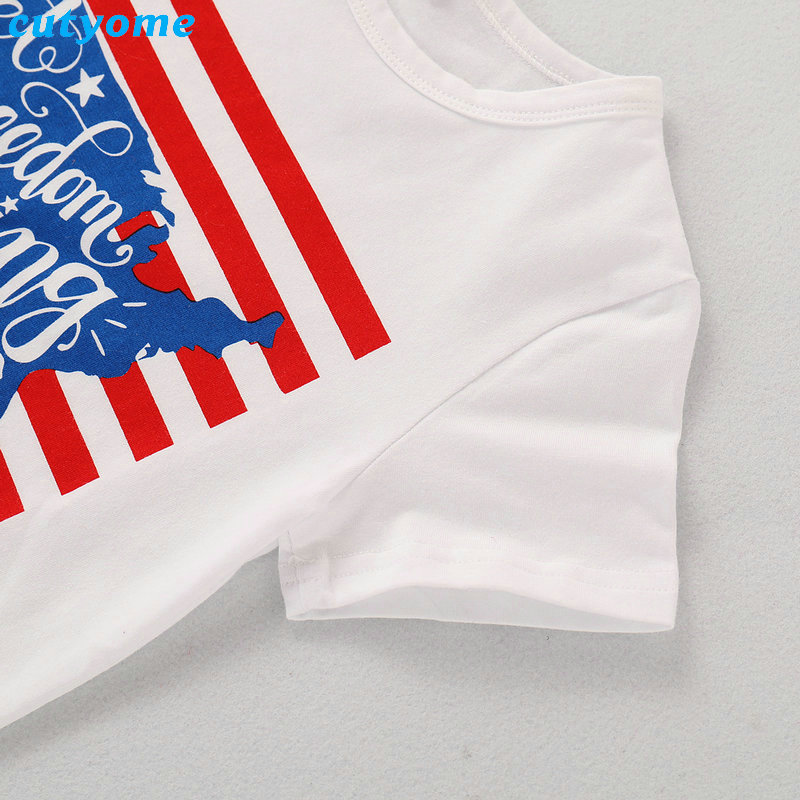 2019 Family Matching Outfits July 4th T-shirt Mother Daughter Father Son Independence Day Tee Tops Blouse Summer Cotton Summer (7)