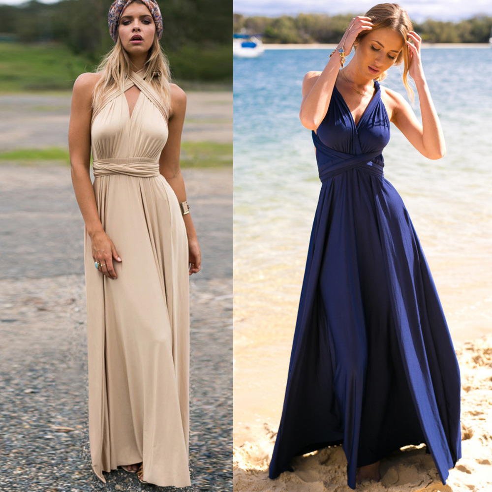 Online get cheap sexy long bridesmaid dress aliexpress women sexy backless beach dress convertible multi way wrap maxi dress bridesmaid party dresses bandage bodycon ombrellifo Images