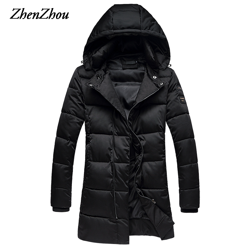 Parka Men Winter Jacket With A Hood 2017 Fashion Zipper Solid Thick Long Slim Fit Winter Coat Men Plus Size M-5XL Top Quality top quality men winter jackets fashion luxury print slim fit men parkas stand collar long sleeve plus size padded coat male 5xl