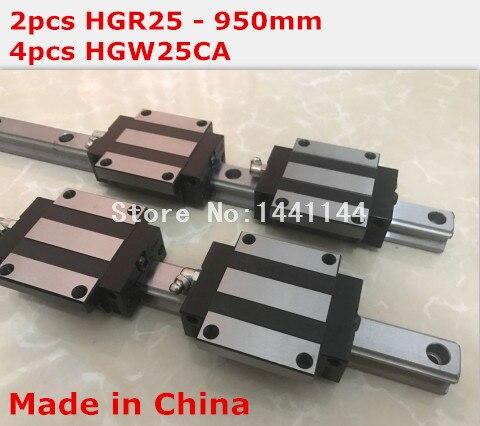 HG linear guide 2pcs HGR25 - 950mm + 4pcs HGW25CA linear block carriage CNC parts салфетки hi gear hg 5585
