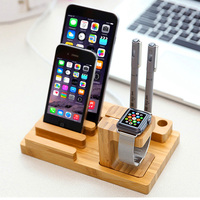 Bamboo Watch Tablet Holder Multi Function Creative Mobile Scaffold Storage Holders Floor Type