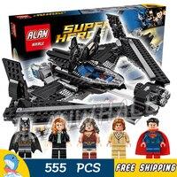 555pcs Super Heroes Batman Movie Superman Battle Wonder Woman 07019 DIY Figure Building Blocks Toys Compatible with Lago
