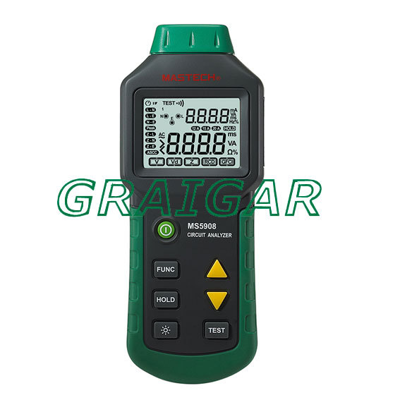 Freeshipping MS5908 TRMS voltage GFCI RCD Tester Circuit Analyzer mastech ms5908 circuit analyzer trms ac low voltage distribution line fault tester rcd gfci sockets testing