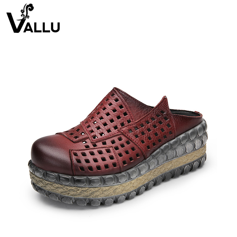 5476673cb9db Hollow Out Platform Slippers Women 2018 Summer Slides Shoes Genuine Leather  Vintage Closed Toe Casual Ladies Shoes